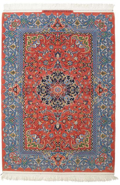 Isfahan Silk Warp Signed: Haghighi Rug 150X220 Authentic  Oriental Handknotted Dark Grey/Dark Red (Wool/Silk, Persia/Iran)
