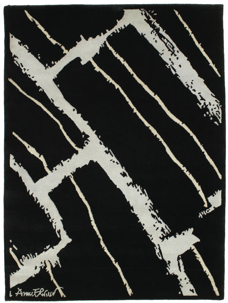 Power Rug 100X140 Authentic  Modern Handknotted Black/Light Grey (Wool, India)