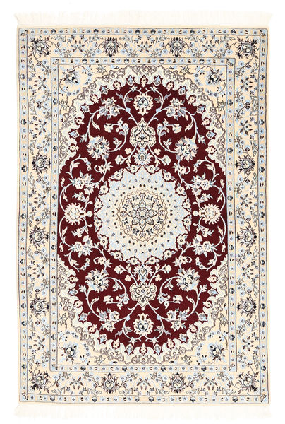 Nain 6La Rug 102X152 Authentic  Oriental Handknotted Beige/Light Grey (Wool/Silk, Persia/Iran)