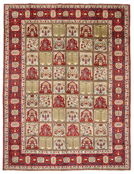 Yazd Rug 298X383 Authentic  Oriental Handknotted Dark Brown/Light Brown Large (Wool, Persia/Iran)