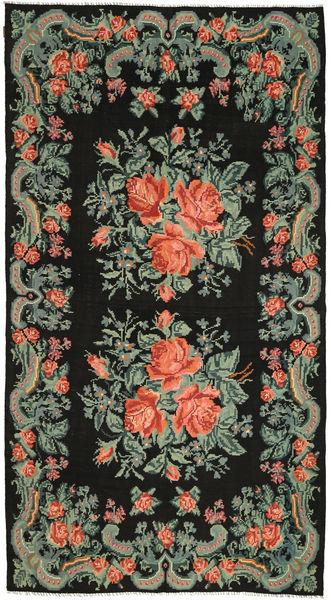 Rose Kelim Rug 194X357 Authentic  Oriental Handwoven Dark Green (Wool, Moldova)