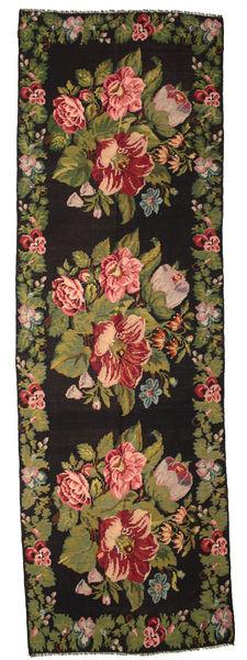 Rose Kelim Moldavia Rug 170X530 Authentic  Oriental Handwoven Hallway Runner  Dark Grey/Dark Brown (Wool, Moldova)