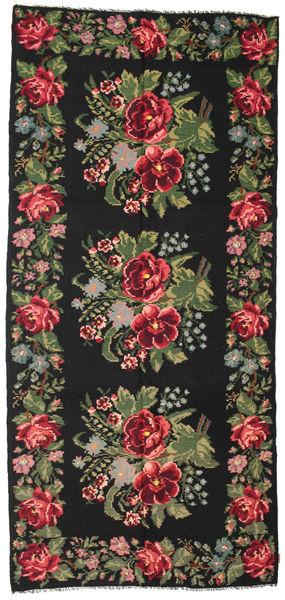 Rose Kelim Moldavia Rug 180X385 Authentic  Oriental Handwoven Black/Dark Brown (Wool, Moldova)