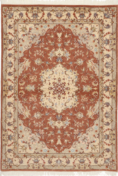 Tabriz 50 Raj With Silk Rug 105X150 Authentic  Oriental Handknotted Brown/Light Brown (Wool/Silk, Persia/Iran)