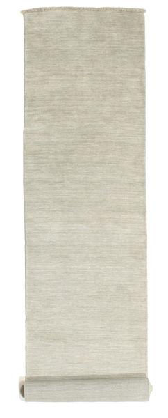 Handloom Fringes - Grey/Light Green Rug 80X400 Modern Hallway Runner  Light Grey/Dark Beige (Wool, India)