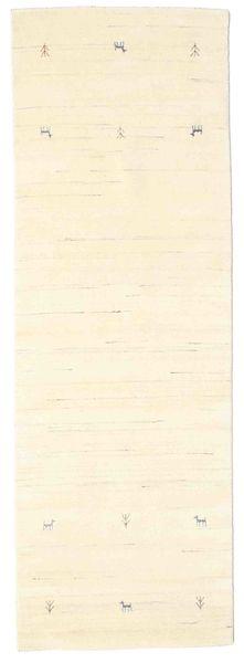 Gabbeh Loom Two Lines - Off White Rug 80X250 Modern Hallway Runner  Beige/White/Creme (Wool, India)