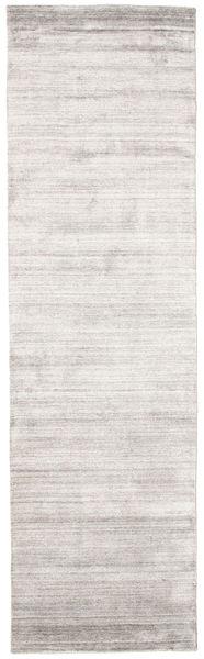 Bamboo Silk Loom - Warm Grey Rug 80X300 Modern Hallway Runner  Light Grey/White/Creme ( India)