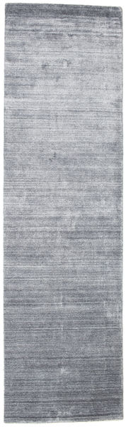 Bamboo Silk Loom - Denim Blue Rug 80X300 Modern Hallway Runner  Light Grey/Light Blue ( India)