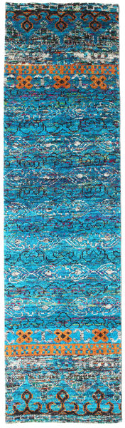 Quito - Turquoise Rug 80X300 Authentic  Modern Handknotted Hallway Runner  Turquoise Blue/Blue (Silk, India)