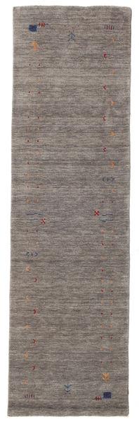 Gabbeh Loom Frame - Grey Rug 80X300 Modern Hallway Runner  Dark Grey/Light Grey (Wool, India)