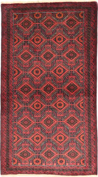 Baluch Rug 105X186 Authentic  Oriental Handknotted Dark Red/Rust Red (Wool, Persia/Iran)