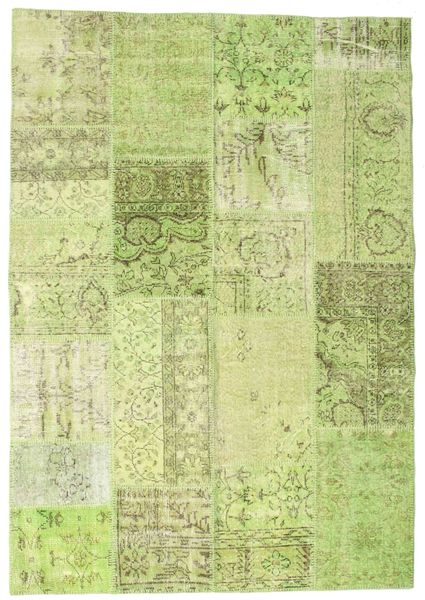 Patchwork Rug 159X229 Authentic  Modern Handknotted Light Green (Wool, Turkey)