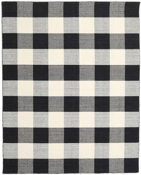 Check Kilim - Black/White Rug 240X300 Authentic  Modern Handwoven Light Grey/Black (Wool, India)