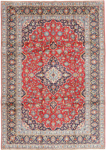 Keshan Rug 245X350 Authentic  Oriental Handknotted Light Grey/Rust Red (Wool, Persia/Iran)
