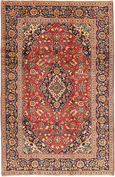 Keshan Rug 198X310 Authentic  Oriental Handknotted Dark Red/Dark Brown (Wool, Persia/Iran)