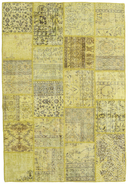 Patchwork Rug 159X232 Authentic  Modern Handknotted Yellow/Light Green/Olive Green (Wool, Turkey)
