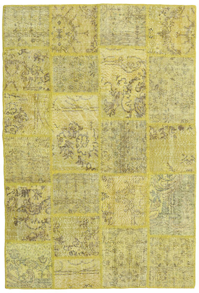 Patchwork Rug 158X234 Authentic  Modern Handknotted Yellow/Olive Green/Light Green (Wool, Turkey)