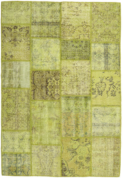 Patchwork Rug 159X232 Authentic  Modern Handknotted Olive Green/Light Green (Wool, Turkey)