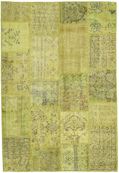 Patchwork Rug 158X233 Authentic  Modern Handknotted Olive Green/Yellow/Light Green (Wool, Turkey)