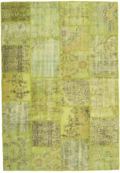 Patchwork Rug 158X231 Authentic  Modern Handknotted Light Green/Olive Green (Wool, Turkey)
