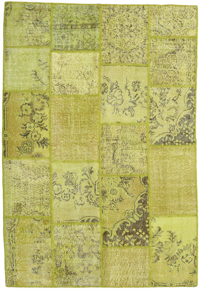 Patchwork Rug 157X232 Authentic  Modern Handknotted Olive Green/Yellow (Wool, Turkey)