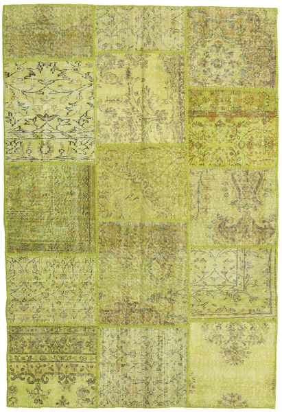 Patchwork Rug 156X235 Authentic  Modern Handknotted Olive Green/Yellow (Wool, Turkey)