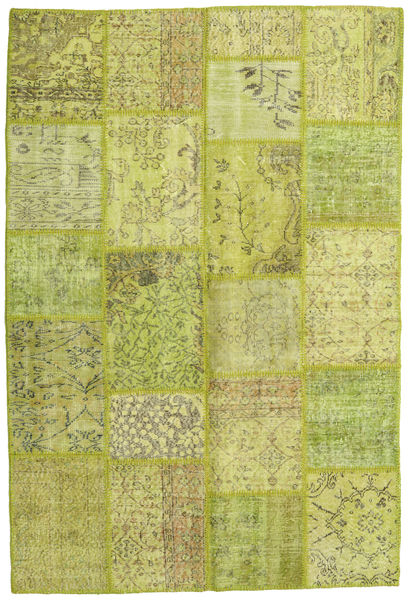 Patchwork Rug 158X234 Authentic  Modern Handknotted Light Green/Yellow/Olive Green (Wool, Turkey)