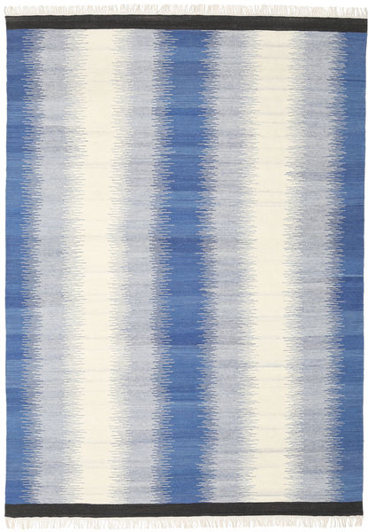 Ikat - Blue Rug 210X290 Authentic  Modern Handwoven Beige/Light Grey/Blue (Wool, India)