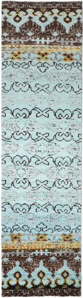 Quito - L. Blue Rug 80X300 Authentic  Modern Handknotted Hallway Runner  Light Blue/Dark Grey (Silk, India)