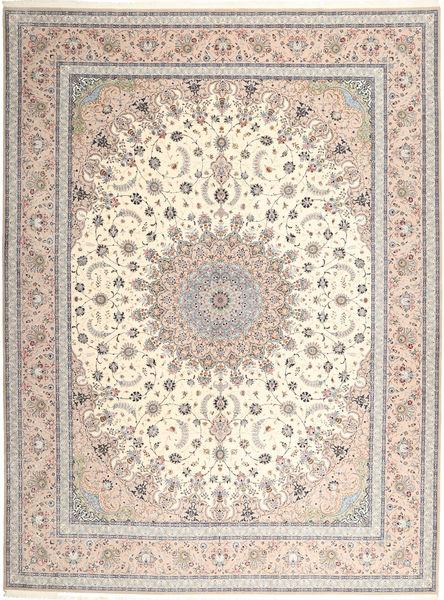 Isfahan Silk Warp Rug 315X420 Authentic  Oriental Handknotted Light Grey/Beige Large (Wool/Silk, Persia/Iran)