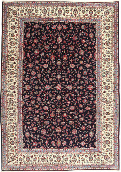 Keshan Rug 249X348 Authentic  Oriental Handknotted Dark Purple/Light Grey (Wool, Persia/Iran)
