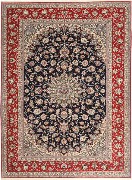 Isfahan Silk Warp Rug 265X363 Authentic  Oriental Handknotted Light Grey/Dark Red Large (Wool/Silk, Persia/Iran)