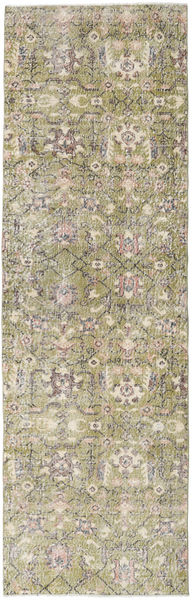 Colored Vintage Rug 96X310 Authentic  Modern Handknotted Hallway Runner  Light Grey/Olive Green (Wool, Turkey)