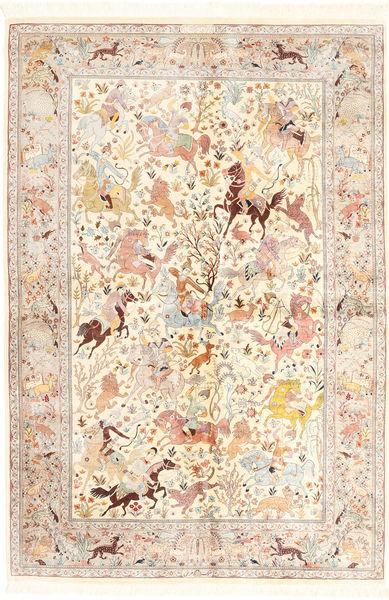 Qum Silk Rug 140X211 Authentic  Oriental Handknotted Beige/Dark Beige (Silk, Persia/Iran)