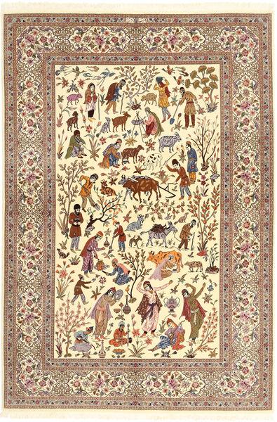Ilam Sherkat Farsh Silk Rug 150X220 Authentic  Oriental Handknotted Beige/Brown/Light Brown (Wool/Silk, Persia/Iran)