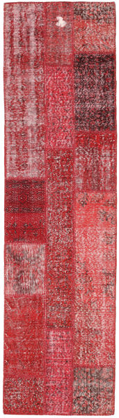 Patchwork Rug 81X300 Authentic  Modern Handknotted Hallway Runner  Dark Red/Crimson Red (Wool, Turkey)