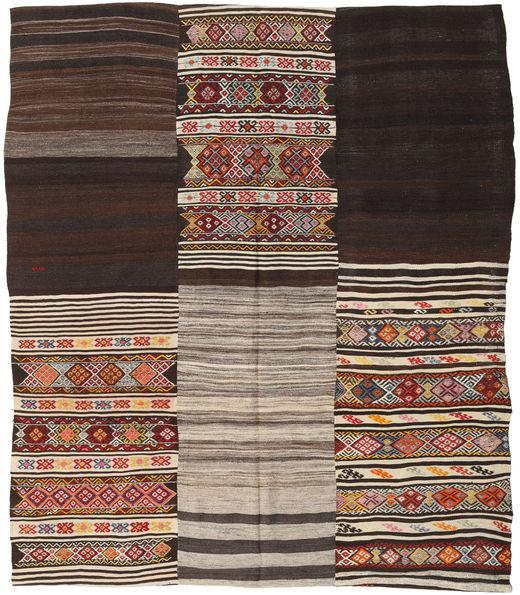 Kilim Patchwork Rug 214X250 Authentic  Modern Handwoven Dark Brown/Light Grey (Wool, Turkey)