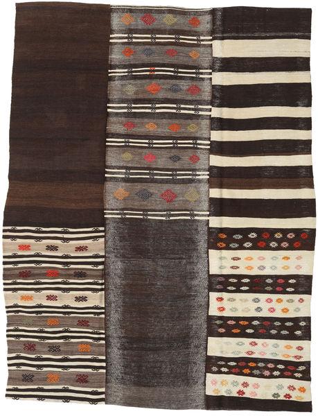 Kilim Patchwork Rug 202X260 Authentic  Modern Handwoven Dark Brown/Dark Grey (Wool, Turkey)