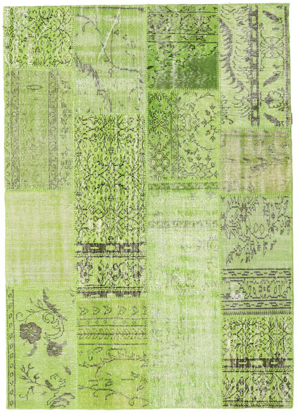 Patchwork Rug 161X228 Authentic  Modern Handknotted Light Green/Olive Green (Wool, Turkey)