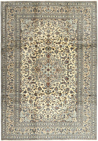 Keshan Rug 240X345 Authentic  Oriental Handknotted Light Grey/Olive Green (Wool, Persia/Iran)