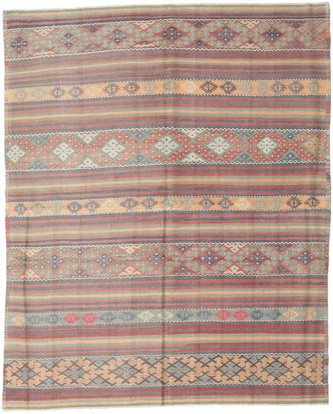 Kilim Turkish Rug 196X244 Authentic  Oriental Handwoven Light Grey/Dark Brown (Wool, Turkey)