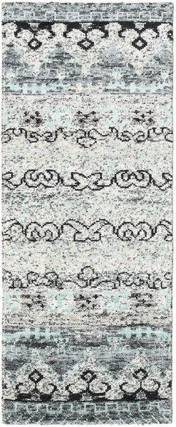 Quito - Grey Rug 80X200 Authentic  Modern Handknotted Hallway Runner  Light Grey/White/Creme (Silk, India)