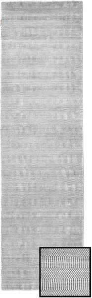 Bamboo Grass - Grey Rug 80X290 Modern Hallway Runner  Light Grey/White/Creme (Wool/Bamboo Silk, Turkey)