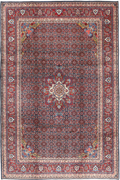 Moud Rug 215X320 Authentic  Oriental Handknotted Light Grey/Dark Red (Wool, Persia/Iran)