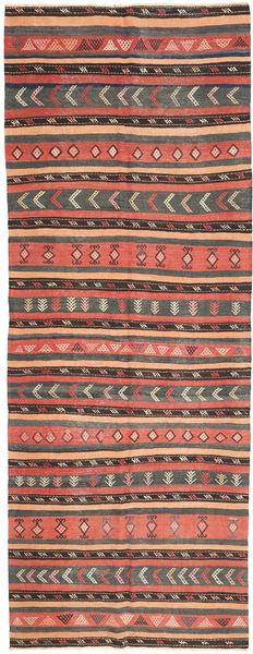 Kilim Rug 152X403 Authentic  Oriental Handwoven Hallway Runner  Light Brown/Dark Grey (Wool, Persia/Iran)