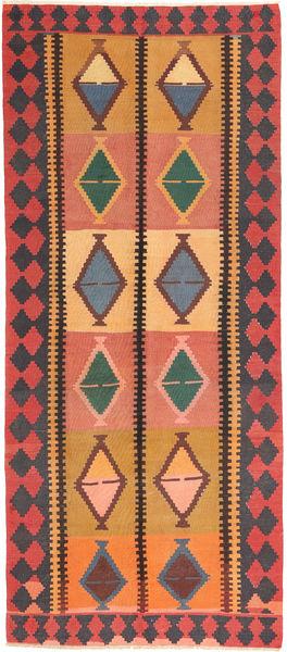 Kilim Fars Rug 145X337 Authentic  Oriental Handwoven Hallway Runner  Orange/Black (Wool, Persia/Iran)