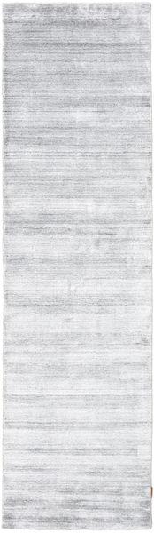 Bamboo Silk Loom - Grey Rug 80X300 Modern Hallway Runner  White/Creme/Beige ( India)