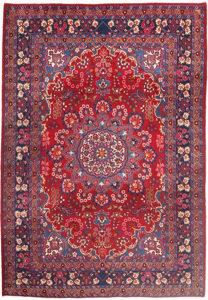 Moud Rug 210X303 Authentic  Oriental Handknotted Crimson Red/Dark Red (Wool/Silk, Persia/Iran)