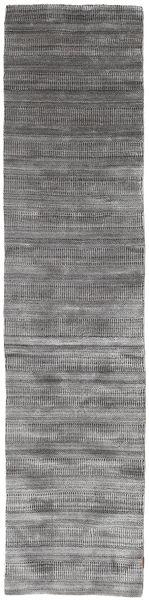 Bamboo Grass - Black_ Grey Rug 80X340 Modern Hallway Runner  Light Grey/Dark Grey (Wool/Bamboo Silk, India)
