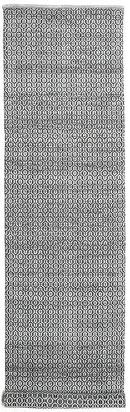 Alva - Grey/Black Rug 80X350 Authentic  Modern Handwoven Hallway Runner  Light Grey/Dark Brown/Dark Grey (Wool, India)